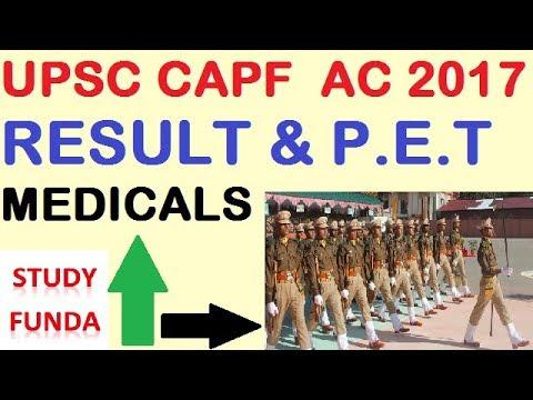 CAPF AC RESULT 2017 & P.E.T.