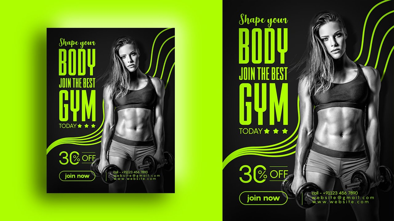 Health Fitness Poster  –  how to design gym poster in Photoshop cc