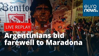 Argentinians bid farewell to football legend Diego Maradona outside Presidential palace | LIVE
