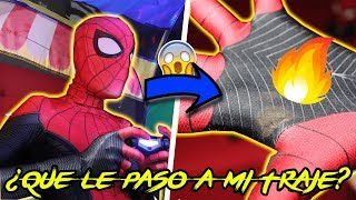 MI TRAJE DE SPIDER MAN FAR FROM HOME SE QUEM0!/ MY SPIDER MAN FAR COSTUME FROM HOME IS BURN3D
