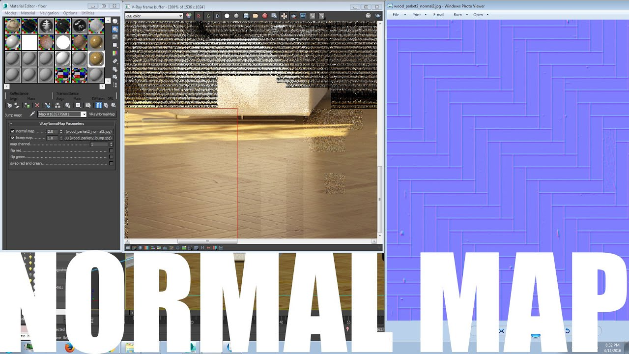 Normal map with nvidia free plugin 3ds max vray wood for Floor normal map