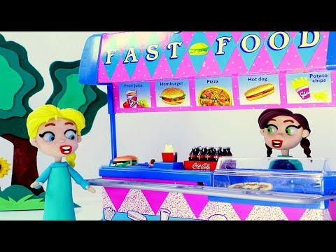 Elsa is hungry healthy food 💕 Superhero Play Doh Stop motion videos for kids