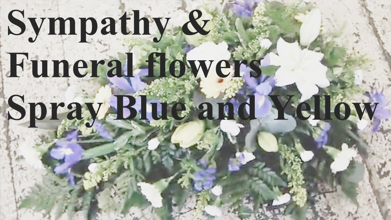 Funeral And Sympathy Casket Sprays Blue And Yellow By Lily Blossom
