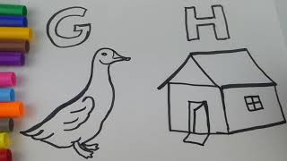 Learning colours and Alphabets G and H | colouring for Children's | Learning words