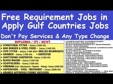 Free Requirement Jobs in Gulf Countries l Gulf Countries Jobs Requirement l All Type Gulf Jobs