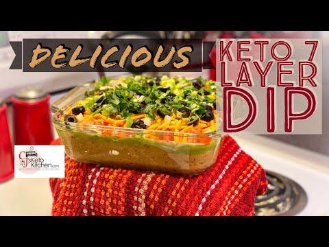 Keto 7 Layer Dip #KetoSnacks #ketotailgate #Ketogameday #lowcarbsnacks #SuperBowlSnacks #ketorecipes