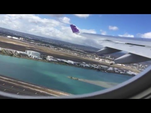 Hawaiian Airlines Airbus A330-200 fast takeoff from HNL Honolulu Hawaii to PPT Tahiti - Nice Views