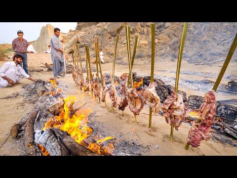 Vertical BBQ - 13 Goat Legs Kebabs!!🔥MOST UNIQUE Iranian Food! | Baluchestan, Iran!🇮🇷