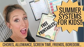 Summer systems for chores, screens, allowance + more! FREE PRINTABLES! thumbnail
