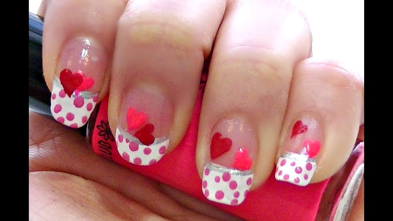 Cute & Easy Valentine Nail Art - YouTube