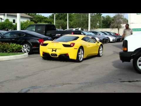 Yellow Ferrari 458 Italia start & drive