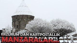 Erzurum'da Seyrine Doyumsuz Kar Manzaraları Kendine Hayran Bıraktı