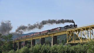 蒸気機関車SL(13) ~長大鉄橋を行く SL福が満開スタート号~ ※汽笛・走行音注意