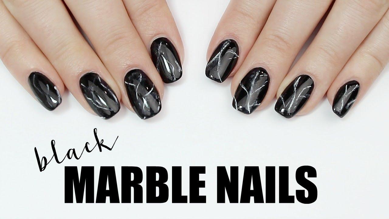 Easy Black Marble Nail Art