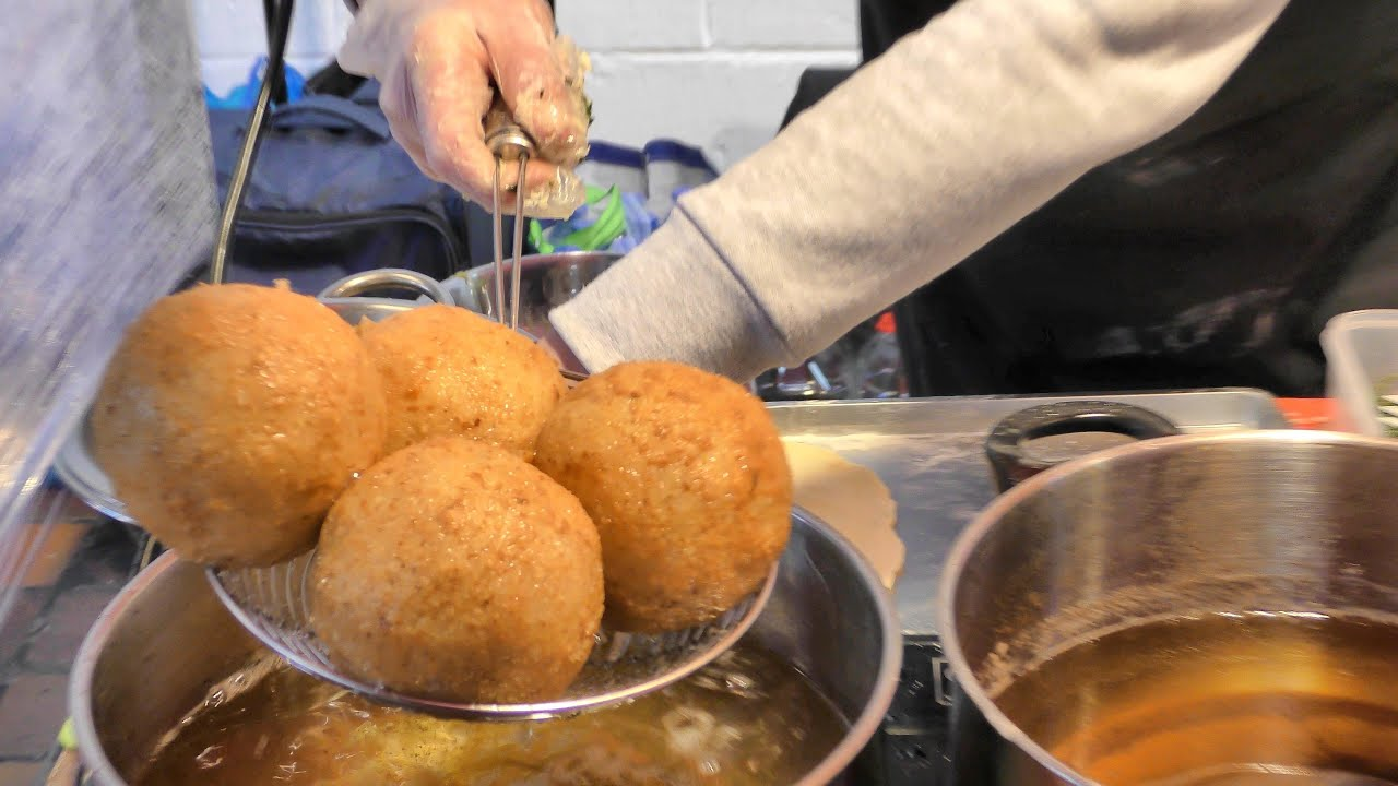 london street food hand made italian rice arancini cooked in