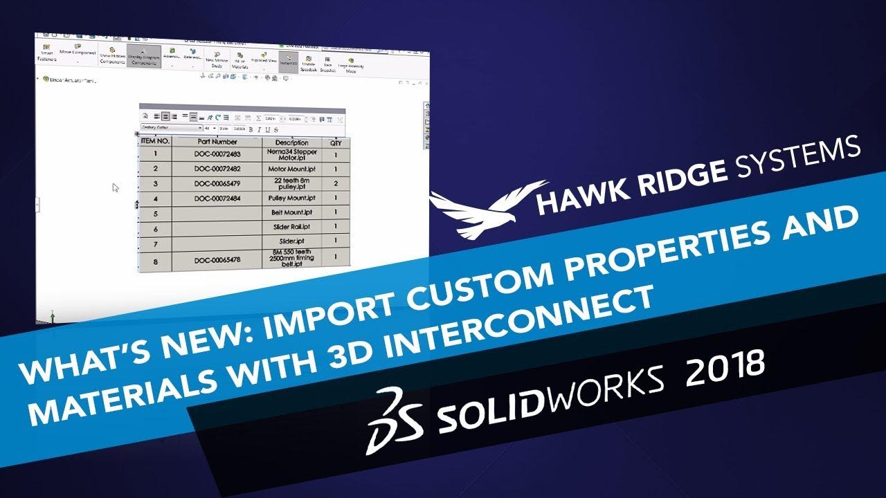 What's New SOLIDWORKS 2018: 3D Interconnect Imports Custom