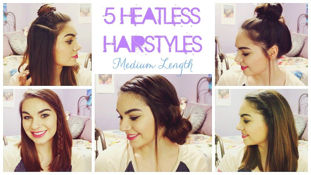 5 Heatless Hairstyles For Summer! Medium Length Hair YouTube