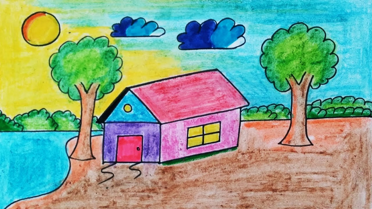 Beautiful Easy Landscape Drawing For Kids Class Learn House And Nature Simple Drawing Youtube