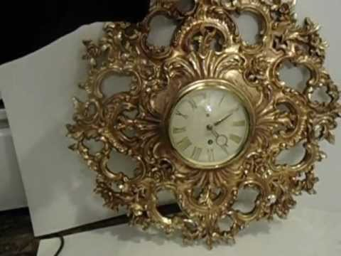 Beautiful Vintage Gold Colored Syroco Wall Clock Youtube