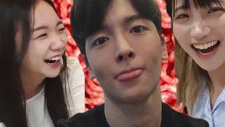 a guy invites two korean girls to his studio