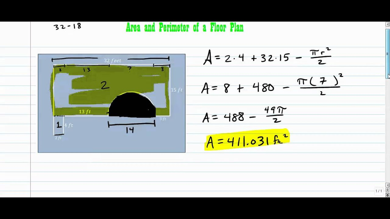area and perimeter of a floor plan youtube