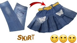 Skirt Making From Old Jeans । Diy Idea । by Simple cutting