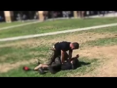 Marine Tackles High School Students During Brawl
