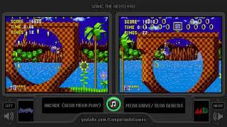 Sonic the Hedgehog (Arcade vs Sega Genesis) Side by Side Comparison