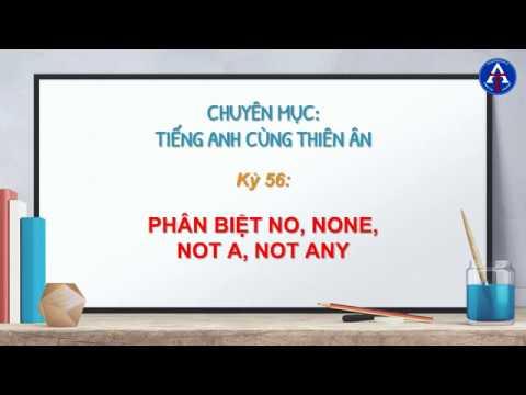 [TIẾNG ANH CÙNG THIÊN ÂN] - Kỳ 57: Phân Biệt No, None, Not A, Not Any Trong Tiếng Anh