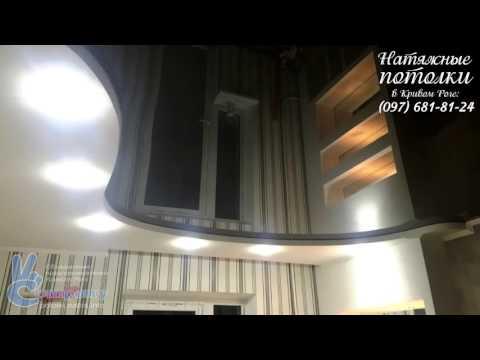 Черный глянец - комбинированный двухуровневый потолок в зале (фото 1107, Кривой Рог)