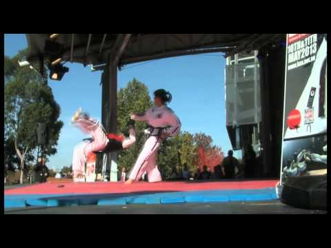 Girls kapow the boys martial arts demo