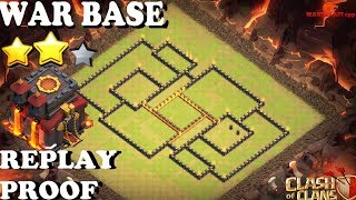 Clash of clans ll War Base TH 10 ll Anti 3 star ll with Replay proof