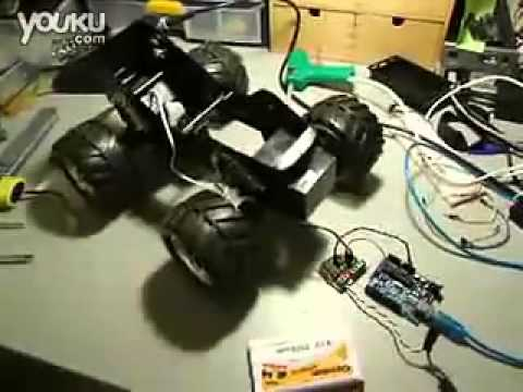 4WD robot chassis with 4 dc metal motor