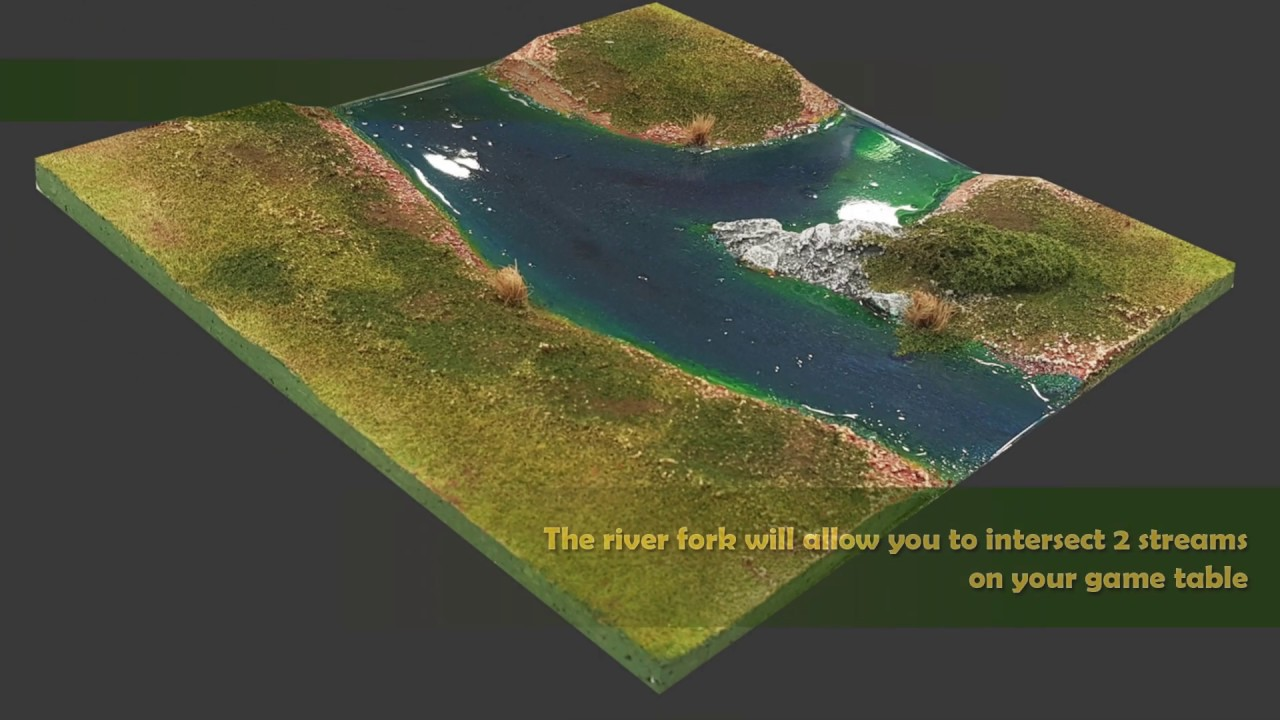 New Additions to our terrain line: River Fork, Half-tile, ready-to-play for  wargames