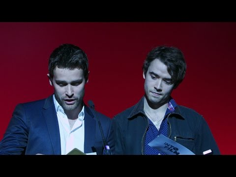 Jamie Blackley and Christian Cooke present Best Documentary (13 and over) at the Into Film Awards