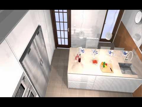 Cocina con peninsula barra y mucha capacidad de for Cocinas con peninsula y mesa