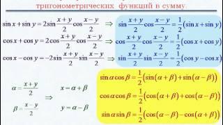 Тригонометрия. Произведение синусов и косинусов.