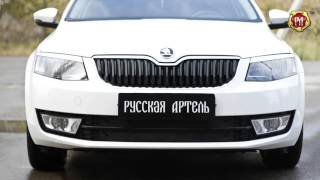 Зимняя заглушка решетки переднего бампера Skoda Octavia A7 (лифтбек), 2014 н.в.  (russ-artel.ru)