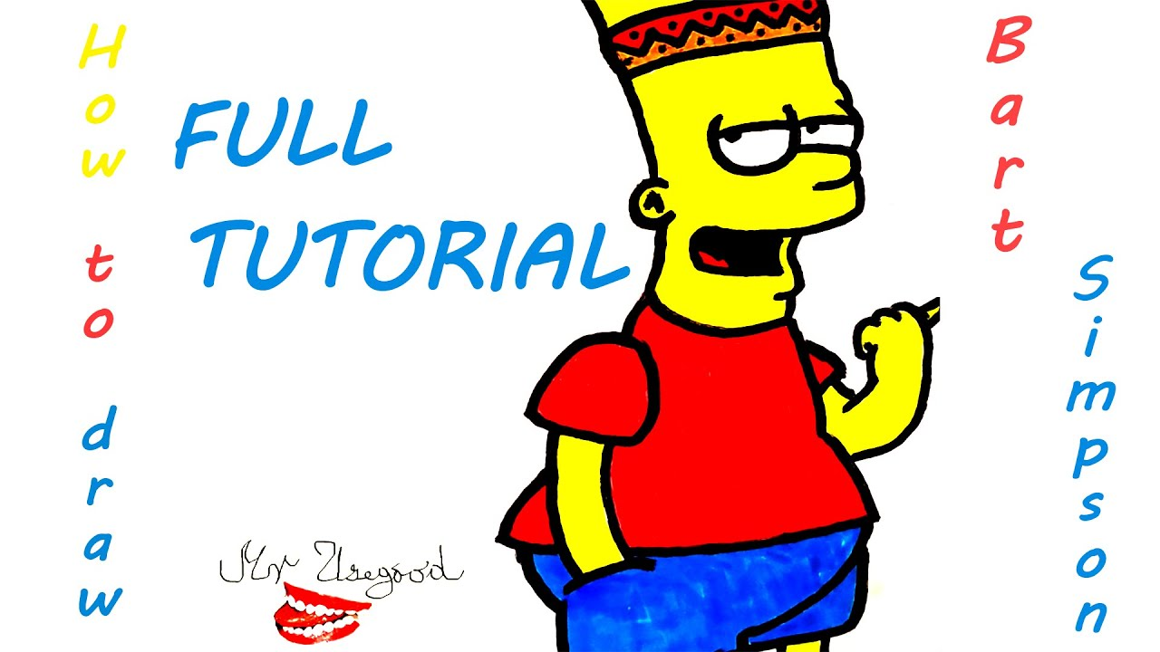 drawing tutorial full how to draw bart simpson step by step easy
