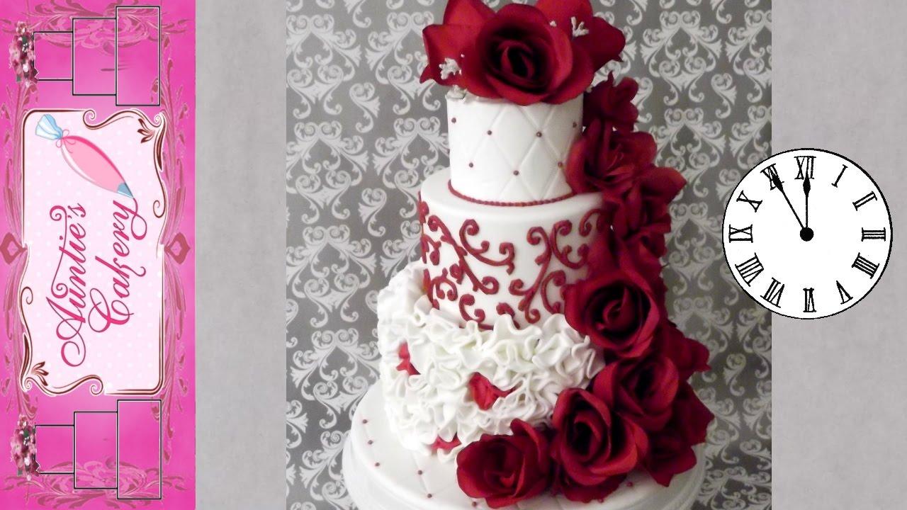 Time Lapse- Red Rose Wedding Cake - YouTube