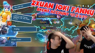 ZXUAN Joki BRANDON KENT account FANNY 47.5% WR in Rank?? Teammate Ngatain Anj*ng!!