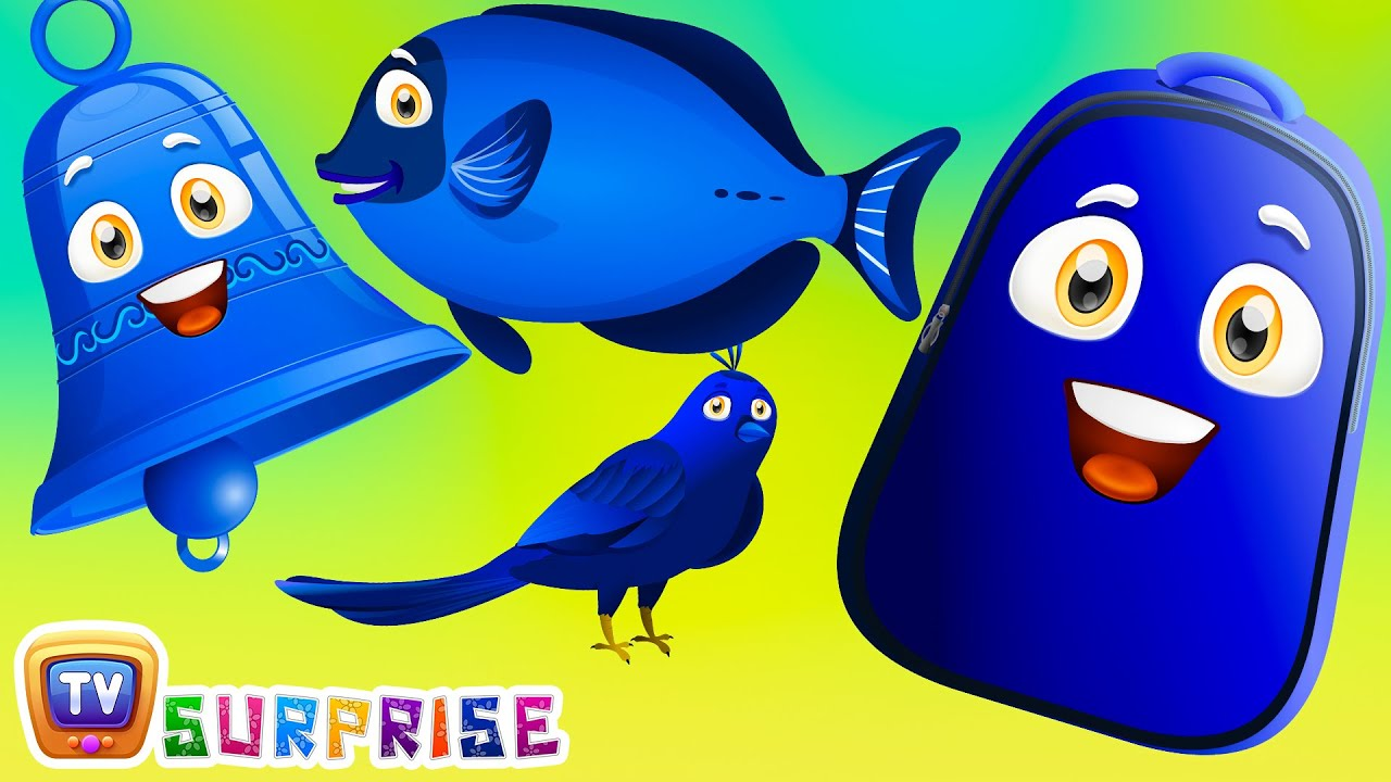 Learn Blue Colour With Funny Egg Surprise Blue Color Song Chuchutv Surprise Eggs Colors For Kids Youtube