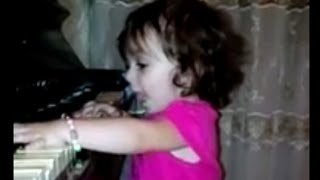Cute and Funny Baby Girl Playing Piano and Snging