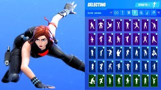 BLACK WIDOW AVENGERS ENDGAME SKIN SHOWCASE WITH ALL FORTNITE DANCES & EMOTES