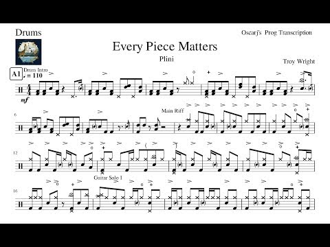 [PDT] Plini - Every Piece Matters Drum Transcription Free Sheet (Updated Sheet In Description)