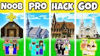 Minecraft: FAMILY CHURCH BUILD CHALLENGE - NOOB vs PRO vs HACKER vs GOD in Minecraft