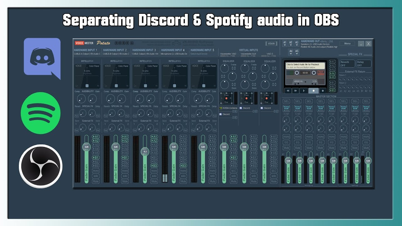 Separating Discord and Spotify Audio in OBS + Soundboard