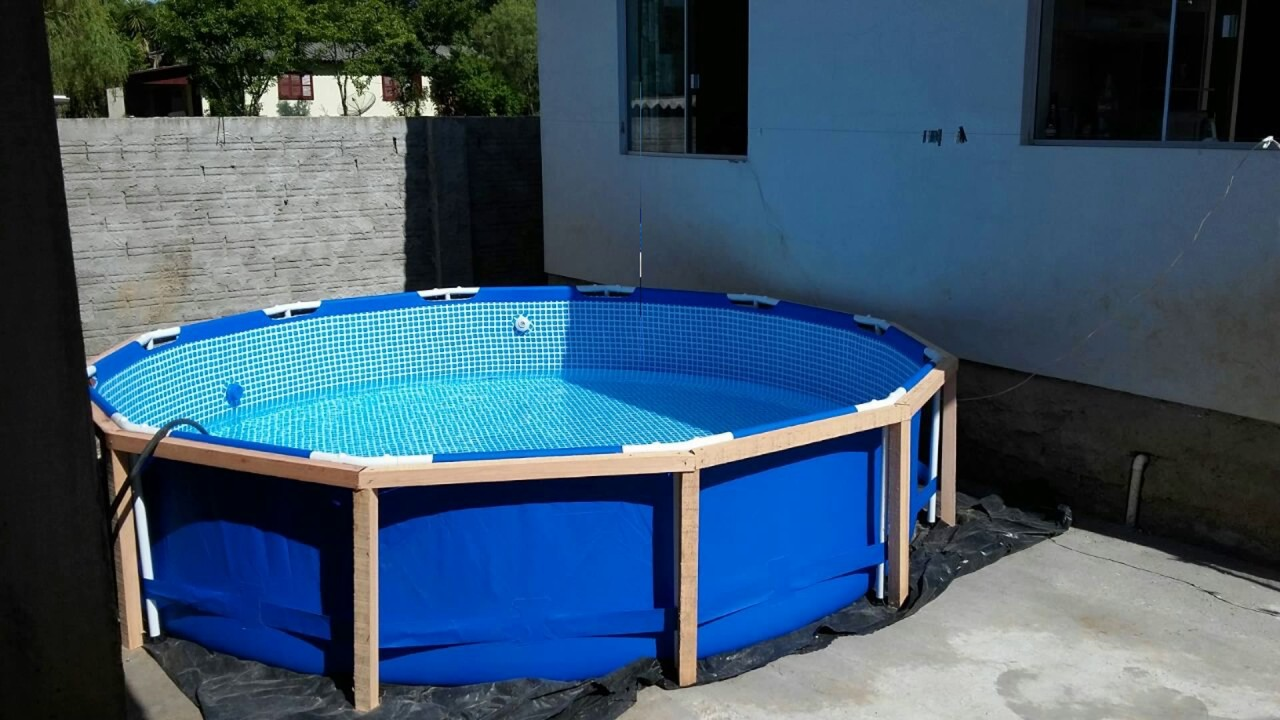V deo do projeto e execu o do deck para piscina intex for Piscinas de plastico desmontables