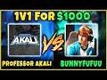PROFESSOR AKALI VS. BUNNYFUFUU 1v1 FOR $1,000! ULTIMATE YOUTUBE SHOWDOWN - League of Legends