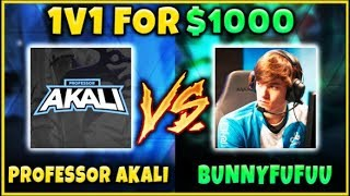 PROFESSOR AKALI VS. BUNNYFUFUU 1v1 FOR $1,000! ULTIMATE YOUTUBE SHOWDOWN - League of Legends